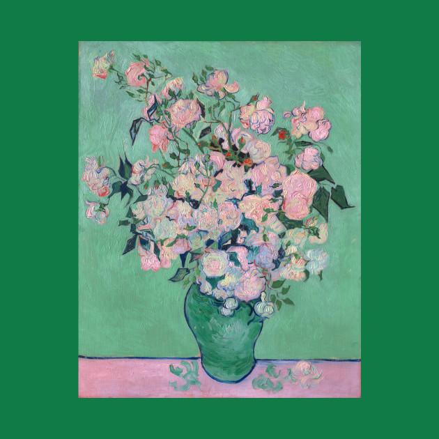 Van gogh pink roses in a vase van gogh t shirt teepublic 3127712 0 mightylinksfo