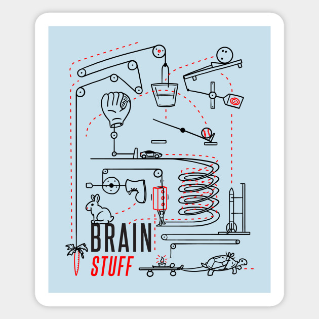 Rube Goldberg Machine Logo Brainstuff Sticker Teepublic