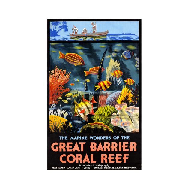 Vintage Travel Poster The Marine Wonders of the Great Barrier Reef Australia