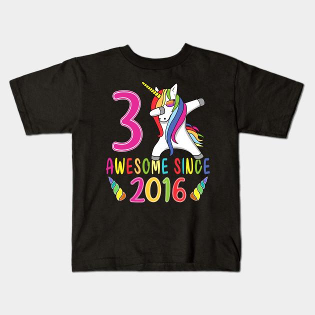 Kids 3 Years Old 3rd Birthday Unicorn Shirt Girl Daughter Gift T