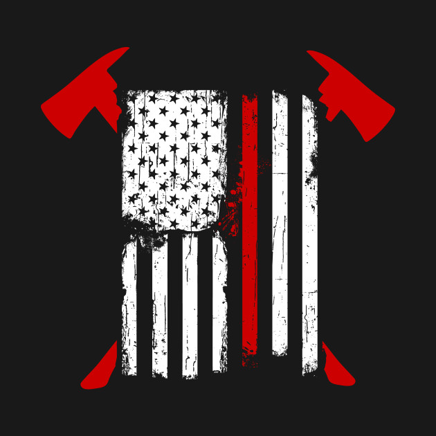 firefighter red line american flag with crossed axes   red