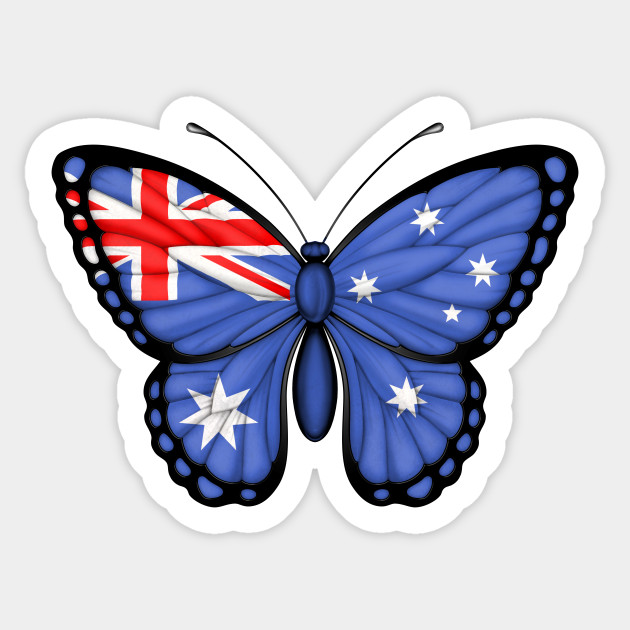 Australian flag butterfly Sticker vinyl cut Australian made and design decal art