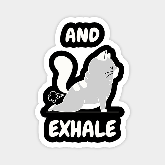 And Exhale Funny Cat Funny Cat Yoga Poses Magnet Teepublic