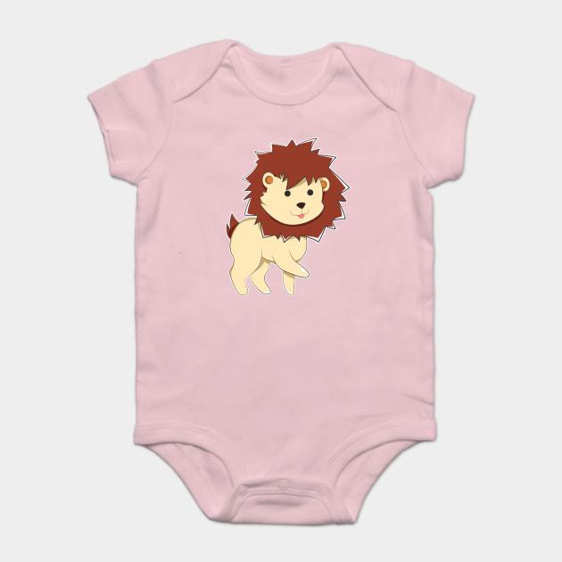aa01a0640 Happy Cartoon Baby Lion - Lion - Onesie   TeePublic