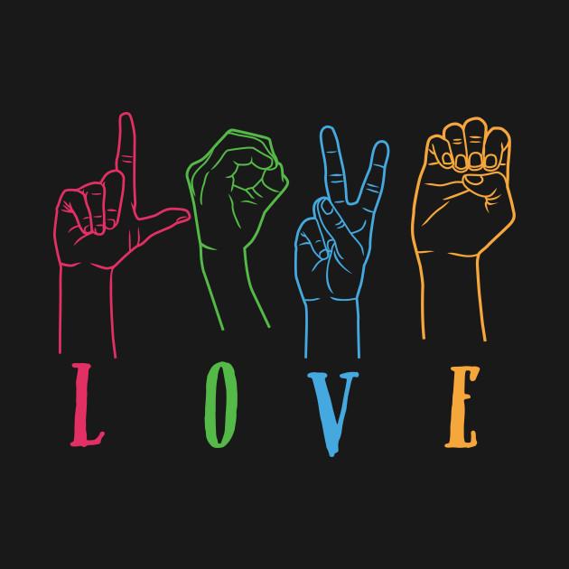 23f91228a3 ... T-Shirt. New!Back Print. Deaf Awareness Rainbow Colors Sign Language  LOVE Hands Design Deaf Awareness Rainbow Colors Sign Language LOVE Hands  Design