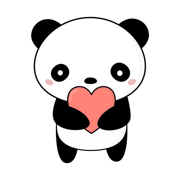 Kawaii Cute Panda Heart T-Shirt