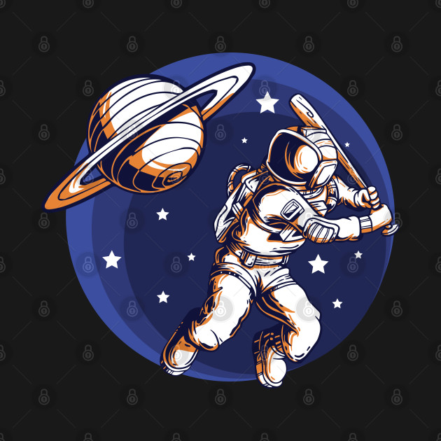 An Astronaut playing baseball and uses  Saturn as his ball to bat with stars on the background