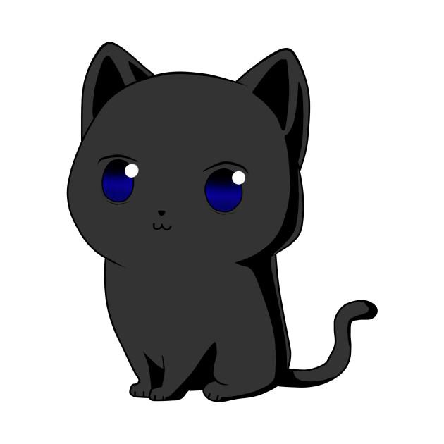 Black Cat Cartoon Kawaii Black Cat Tapestry Teepublic