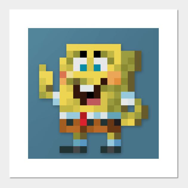 Spongebob Low Res Pixelart Pixelart Affiche Et Impression D Art Teepublic Fr