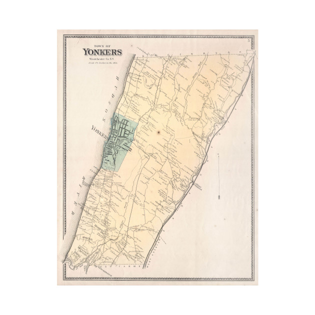 Vintage Map of Yonkers New York 1867 Yonkers Map TShirt