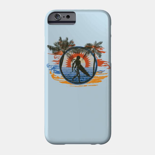 Summer Sun Surfing Beach Palm Trees