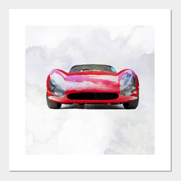 Vintage Alfa Romeo In Watercolor Car Posters And Art Prints - Alfa romeo posters