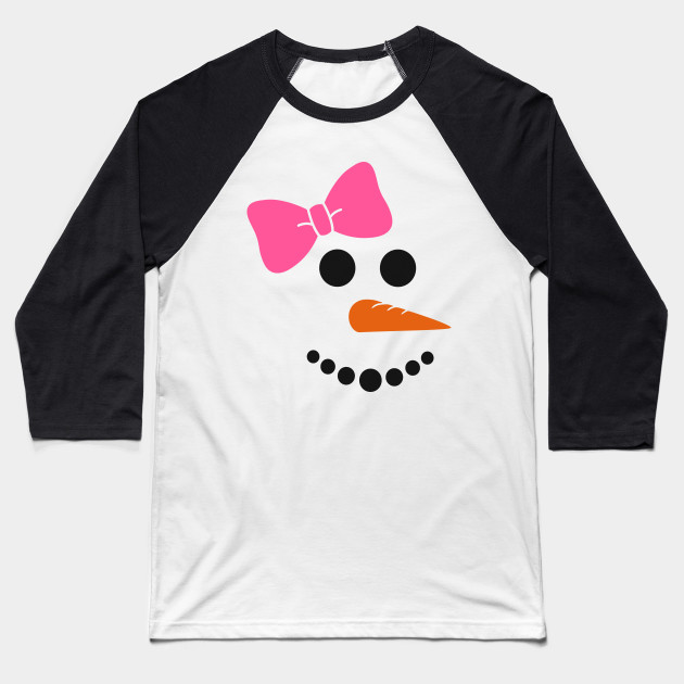 734932ab3 Snowman Face with Pink Bow Cute Funny Christmas T-Shirt Baseball T-Shirt