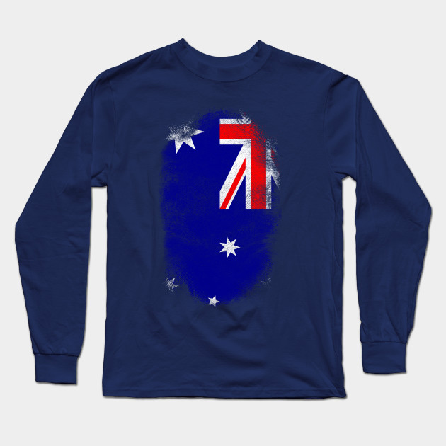 66e734348 Australia Flag Souvenir - Distressed Australian Design Long Sleeve T-Shirt