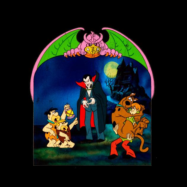 Flintstones & Scooby Doo Meet Dracula Vintage Iron On Patch
