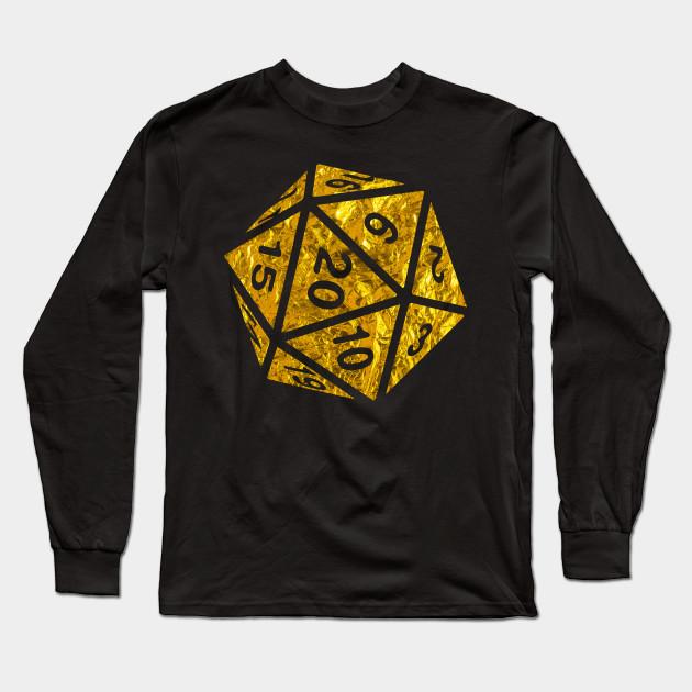 8ba8fa1a3 RPG Dice Shirt d20 | Golden Treasure Design Gold Foil Pattern Long Sleeve T- Shirt
