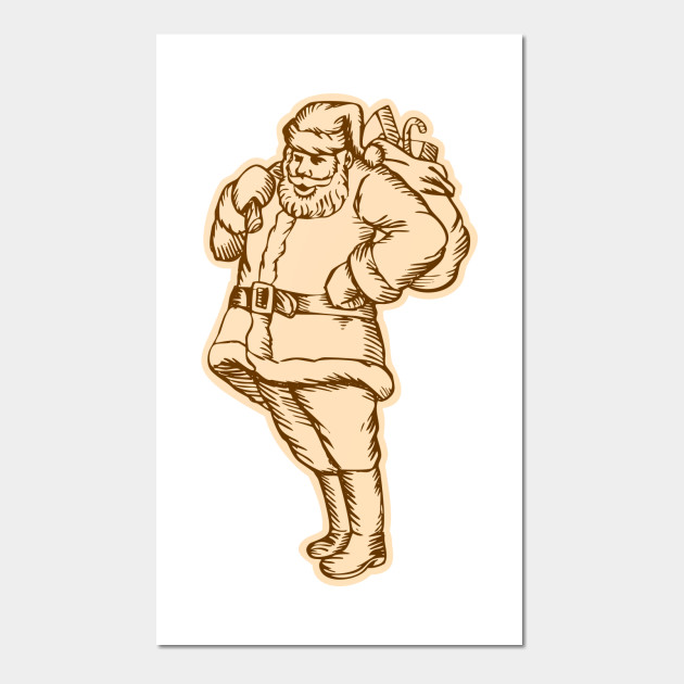 Santa Claus Father Christmas Standing Etching - Santa Claus Father ...