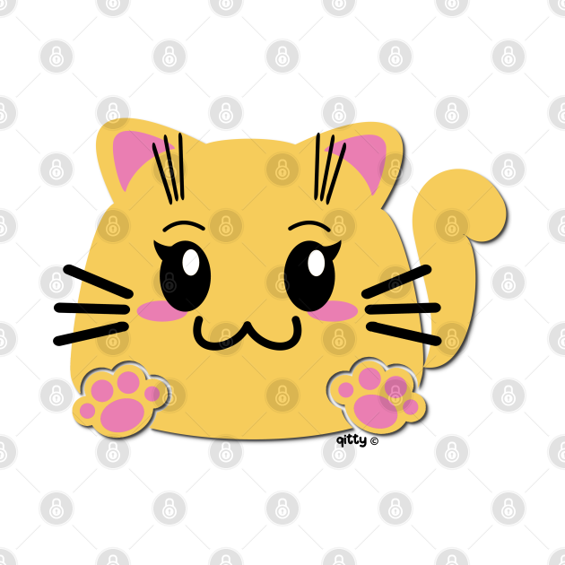 Qitty Cute Cartoon Blob Kitty | Sitting Plain