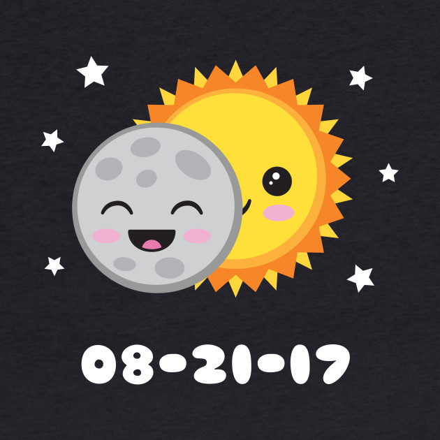 2017 Solar Eclipse Cute Kawaii Sun & Moon Cartoon