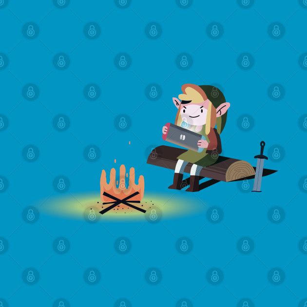 Link playing nintendo switch