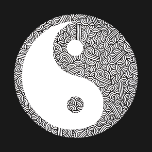 Black and white swirls doodles Yin Yang