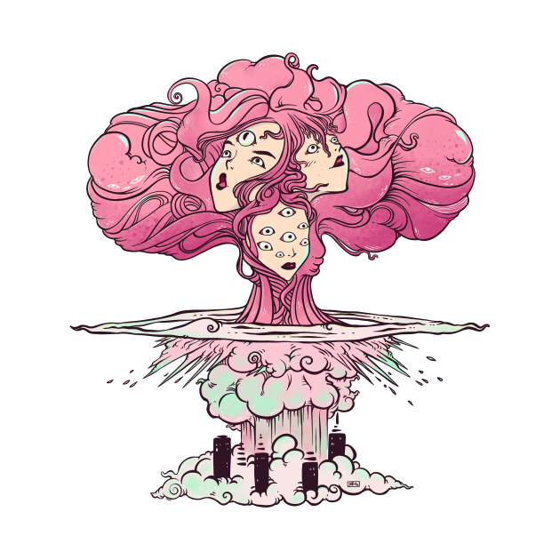 Mushroom Cloud Atomic Bomb Girls Artwork
