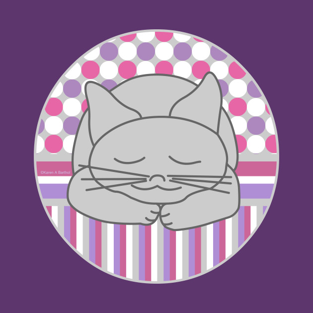 Sleeping Gray Cat Pink Pattern Oval