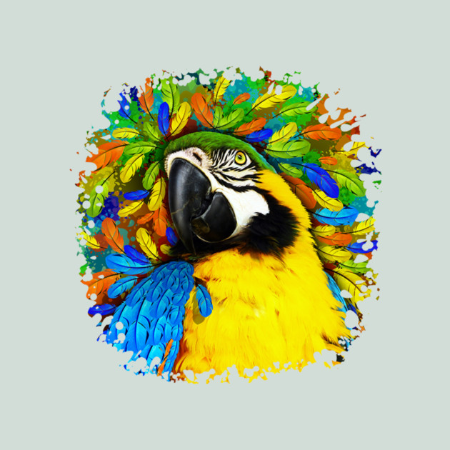 Gold and Blue Macaw Parrot Fantasy - Exotic Bird - T-Shirt   TeePublic