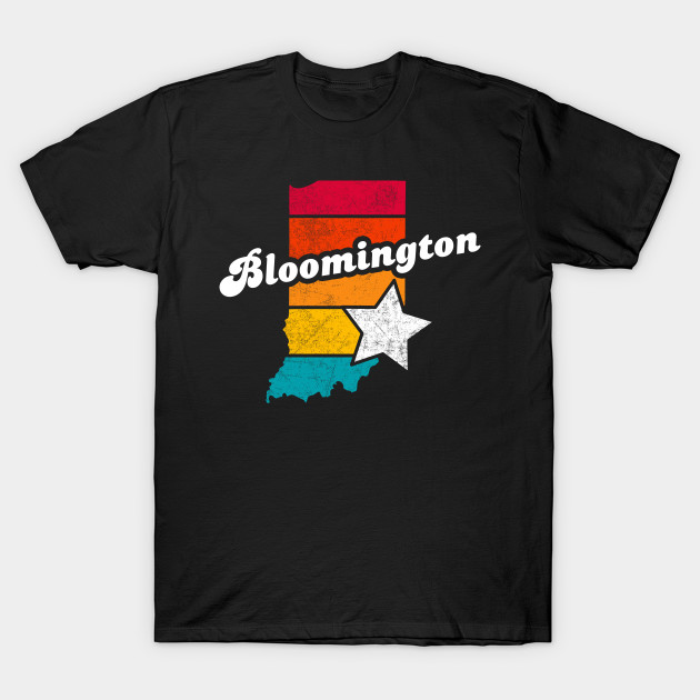 Bloomington Indiana T-Shirt Vintage City Retro Souvenir US State Silhouette Lover Gift With Star