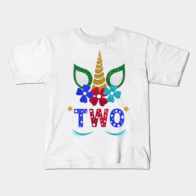 Unicorn Toddler Girl 2nd Birthday Kids T Shirt