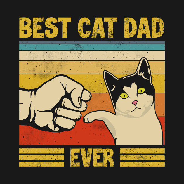 Vintage Best Cat Dad Birthday Graphic Shirts Kitten Cat Lovers Fathers Day