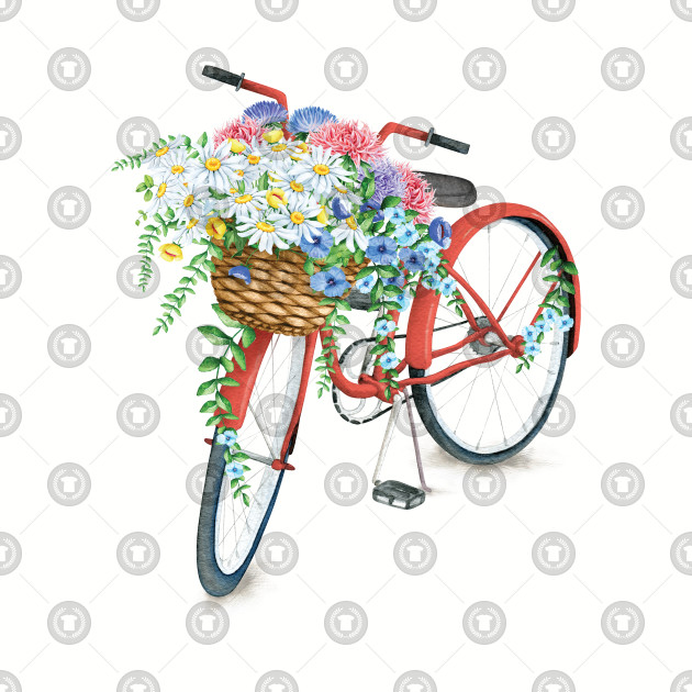 Vintage Red Bicycle With Flowers