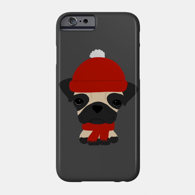 Cute Pug Wearing Hat and Scarf - Pug - Phone Case  65629609fd6