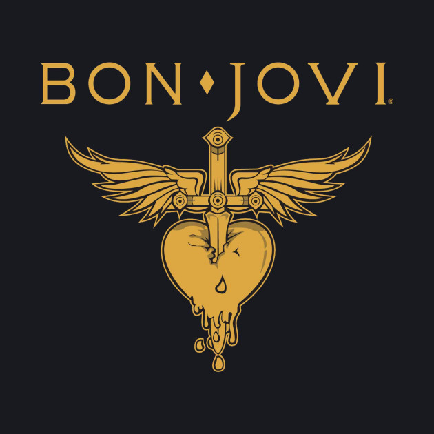BON JOVI LOGO HEART GOLD