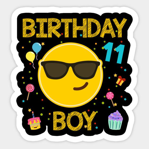Kids Emoji 11th Birthday Boy T Shirt Fun 11 Years Old Gift Sticker