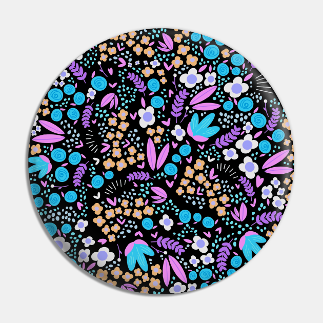 Blossoming flowers blue and violet