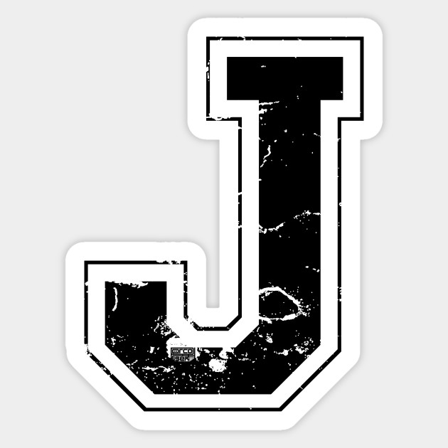 Initial Letter J Black Jersey Sports Athletic Player Jersey Letter