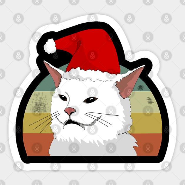 Vintage Cat Ugly Christmas Sweater Meme Costume Woman Yelling Vintage A Cat Christmas Adesivo Teepublic It