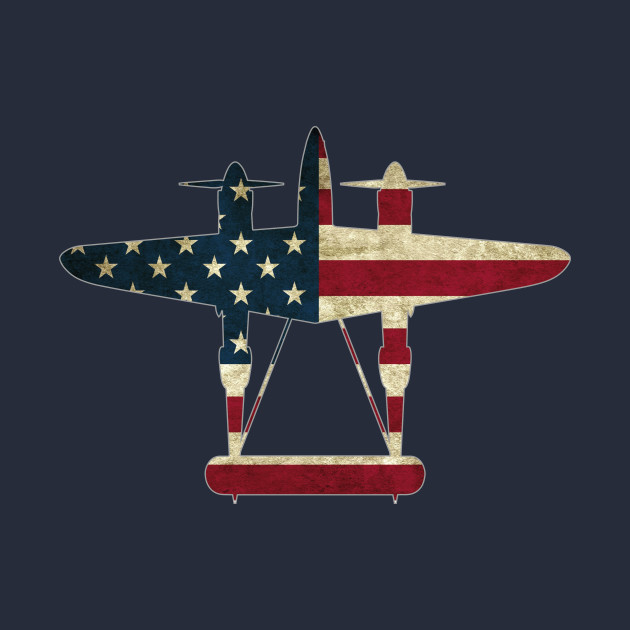 retro usa flag p 38 lightning aircraft plane ww2 fighter warbird