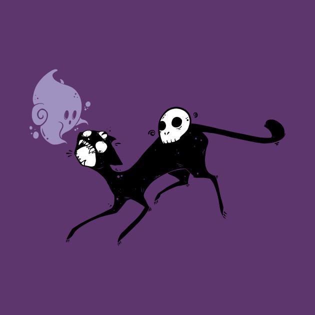 3e6d6c86b Creepy Cute Black Cat Monster With Ghost And Skull Art - Black Cat ...