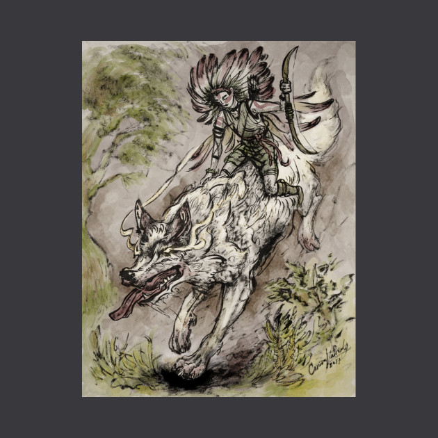 Wolf Warrior - Traditional Ink on Parchment