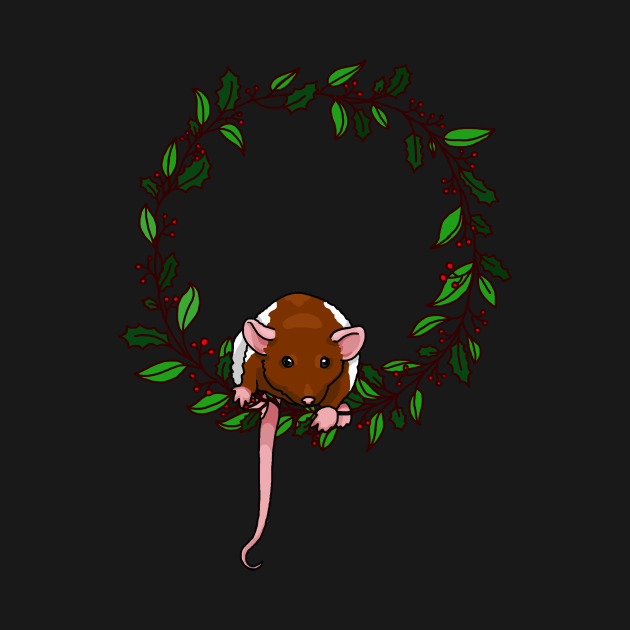 rat sitting on a holiday themed wreath