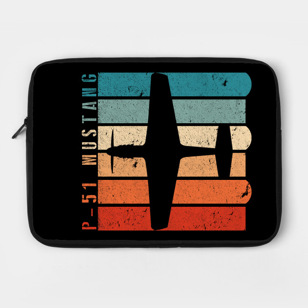 P-51 Mustang WWII Fighter Airplane Retro Colors Design