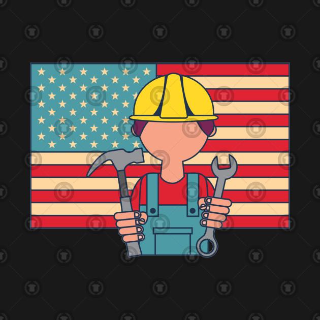 Builder Man American Flag USA