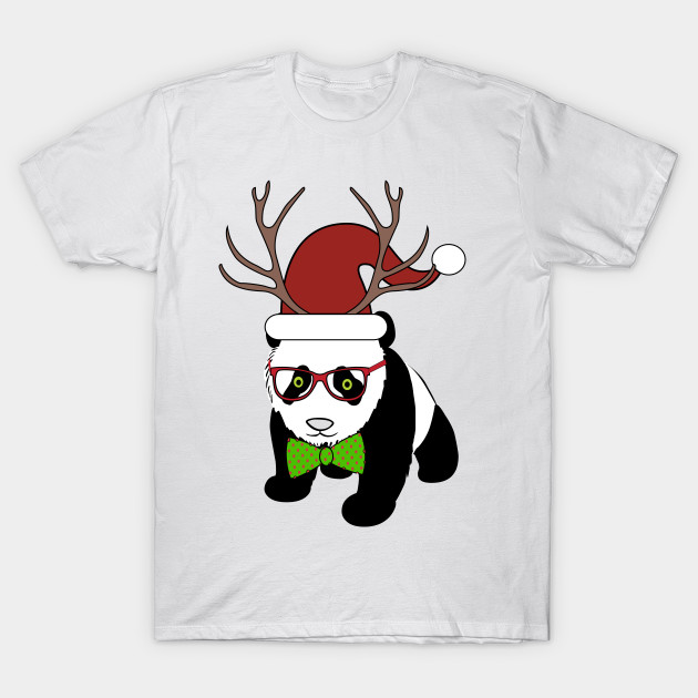 4f6146e5c9267 Hipster Christmas Panda - Spectacles - T-Shirt