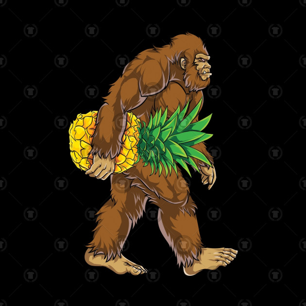 Bigfoot Carrying Pineapple