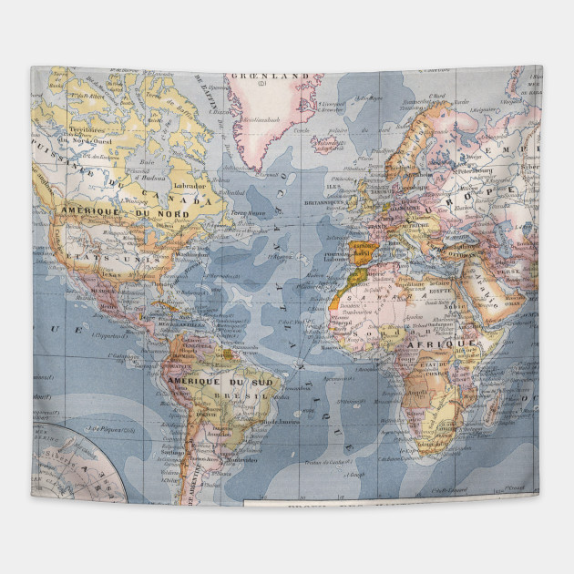 Vintage Map of The World (1900) - World Map - Tapestry | TeePublic
