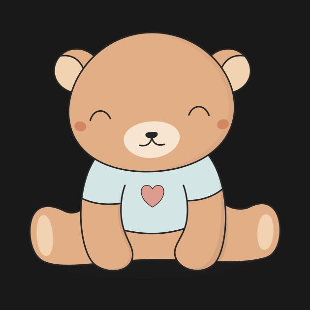 Bear kawaii. Cute brown teddy
