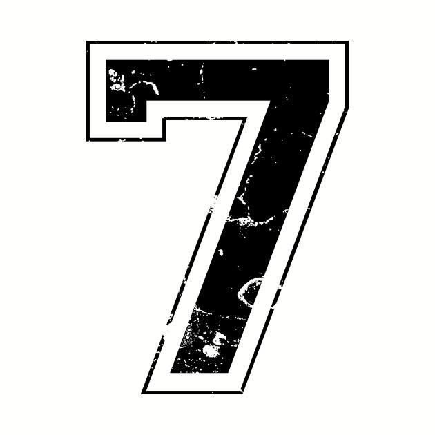 Number 7 Seven Black Jersey Sports Athletic Player