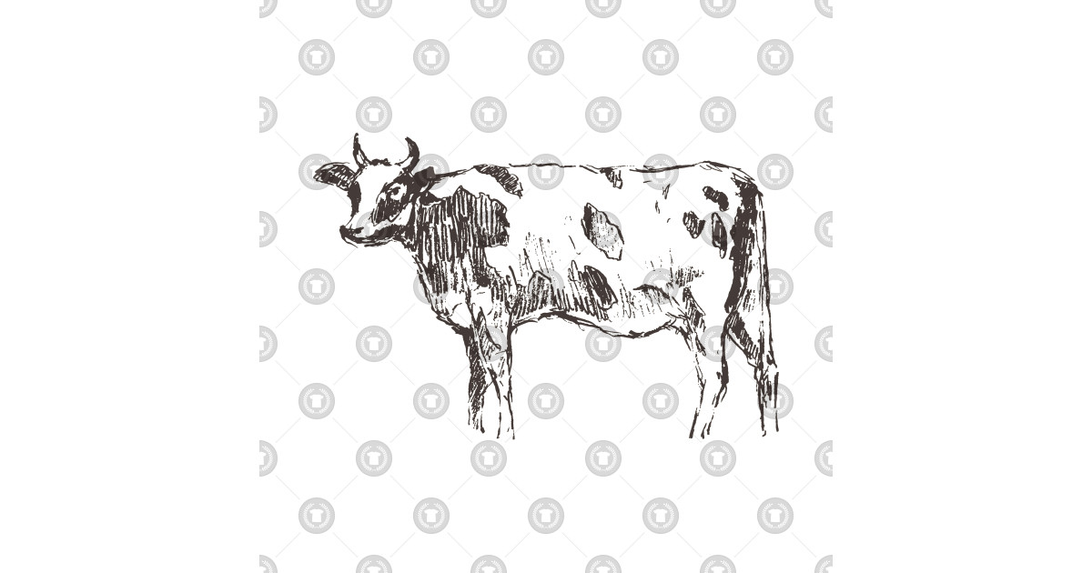 Engraved Sketch Dutch Spotted Cow by grop